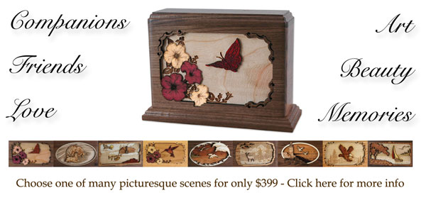 Wood Companion Urns with Laser Engraved Scene