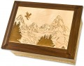 Wood Companion Urn with Mountains | Companion Cremation Urn
