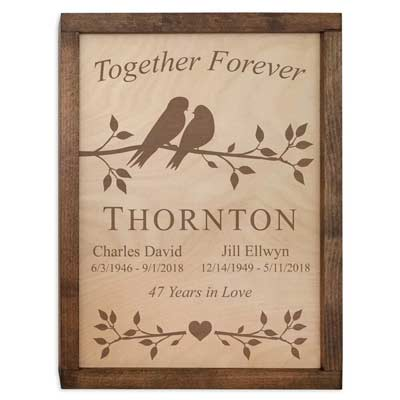 Lovebirds Cremation Box (Wall Mounted Urn for Ashes)