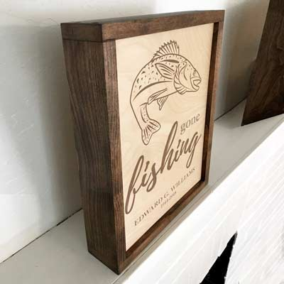 Gone Fishing Cremation Urn Plaque