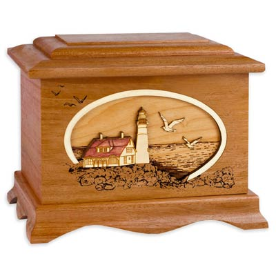 Lighthouse Inlay Art Cremation Urn for Ashes