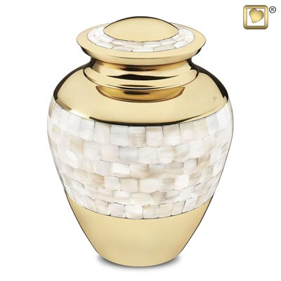 Mother of Pearl Brass Memorial Urn for Ashes