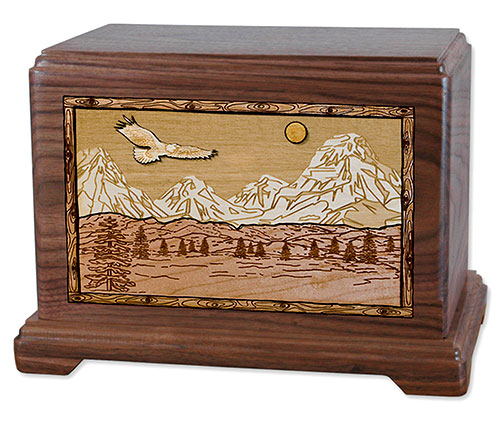 Soaring Eagle & Mountain Wooden Cremation Urn