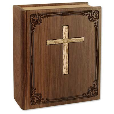 Bible Urn with Cross Inlay