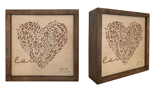Love Heart Cremation Urn Display Plaque
